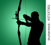 Small photo of Facing view of man practicing archery against white background against green vignette