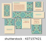vector set of business cards... | Shutterstock .eps vector #437157421