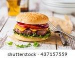 closeup of a fresh homemade...   Shutterstock . vector #437157559