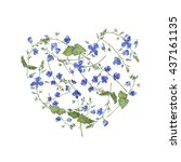 blue flowers shape heart.... | Shutterstock . vector #437161135
