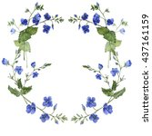 blue flowers border. greeting... | Shutterstock . vector #437161159