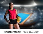 female athlete with elbow pad... | Shutterstock . vector #437163259