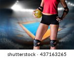 female athlete with elbow pad... | Shutterstock . vector #437163265
