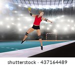 female athlete with elbow pad... | Shutterstock . vector #437164489