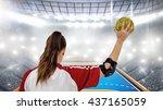 sportswoman holding a ball... | Shutterstock . vector #437165059