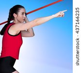 female athlete throwing a...   Shutterstock . vector #437166235