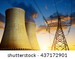 nuclear power plant with high... | Shutterstock . vector #437172901