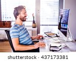 man sitting at desk working... | Shutterstock . vector #437173381