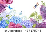 beautiful floral background... | Shutterstock . vector #437175745