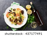 pasta with seafood and white... | Shutterstock . vector #437177491
