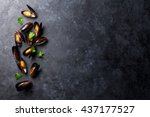 Mussels On Stone Table. Top...