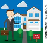 realtor holds a key in hand ...   Shutterstock .eps vector #437180071