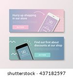 set of banners with discount... | Shutterstock .eps vector #437182597
