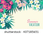 pink and white frangipani ... | Shutterstock .eps vector #437185651