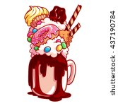 giant milkshake with muffin ... | Shutterstock .eps vector #437190784