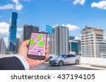 car sharing concept. sharing... | Shutterstock . vector #437194105