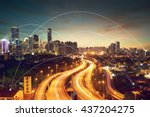 city scape and network... | Shutterstock . vector #437204275