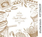 vector hand drawn bakery... | Shutterstock .eps vector #437206339