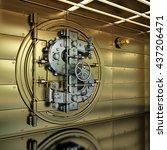golden bank vault door.... | Shutterstock . vector #437206471