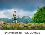 male athlete alone practice... | Shutterstock . vector #437209531