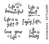 lettering life quotes.... | Shutterstock .eps vector #437216389