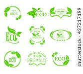 set of eco icons with leaves on ... | Shutterstock .eps vector #437217199