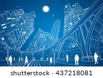 big bridge  night city on... | Shutterstock .eps vector #437218081