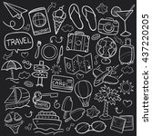 blackboard travel doodle icons... | Shutterstock .eps vector #437220205