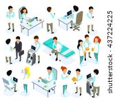 flat 3d isometric doctor icon... | Shutterstock .eps vector #437224225