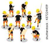 flat 3d isometric builder... | Shutterstock .eps vector #437224459