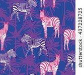 zebra and palm tree   vector... | Shutterstock .eps vector #437228725
