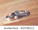 wedding rings of a husband and...   Shutterstock . vector #437230111