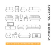 thin line furniture icons set   ... | Shutterstock .eps vector #437236699