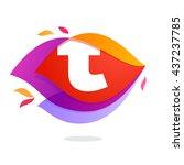 letter t logo in flame... | Shutterstock .eps vector #437237785
