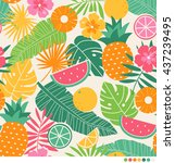 tropical summer concept... | Shutterstock .eps vector #437239495