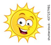 funny drawing of a sun  vector... | Shutterstock .eps vector #437257981