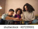 parents drawing with their... | Shutterstock . vector #437259001