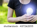 led bulb led bulb in our hand... | Shutterstock . vector #437262055