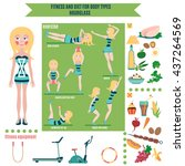 infographic  fitness and diet... | Shutterstock .eps vector #437264569