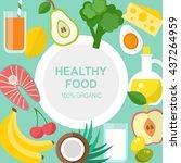 healthy food background ... | Shutterstock . vector #437264959