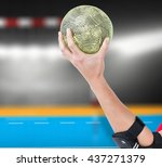 female athlete with elbow pad... | Shutterstock . vector #437271379