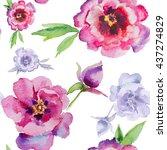 watercolor flowers peonies.... | Shutterstock . vector #437274829