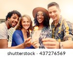 multi ethnic millenial group of ... | Shutterstock . vector #437276569