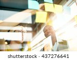 two creative millenial small...   Shutterstock . vector #437276641