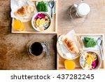 organic foods  museli  clean... | Shutterstock . vector #437282245