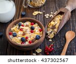 muesli and milk with fresh... | Shutterstock . vector #437302567