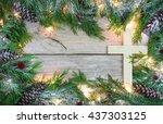 christmas tree garland border...   Shutterstock . vector #437303125