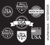 collection of made in the usa... | Shutterstock .eps vector #437304535