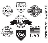 collection of made in the usa... | Shutterstock .eps vector #437304541