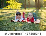 happy sister and brother...   Shutterstock . vector #437305345